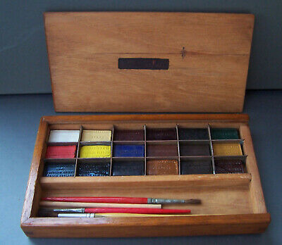 Antique Crown Stationery Office Paint Box - Winsor & Newton/George Rowney Blocks