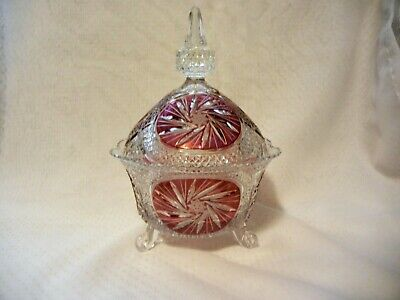Beautiful Lidded Footed Glass Candy Bowl Red Flashed Large Table Center Piece