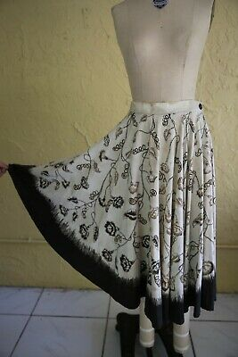 Vtg 60s 70s Women's Brown Mexican Circle Skirt Hand Painted Sequin Beaded Floral