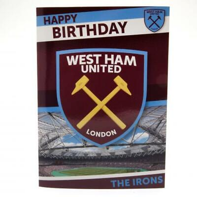 West Ham United FC Musical Sound Birthday Card With Envelope Present Gift Xmas