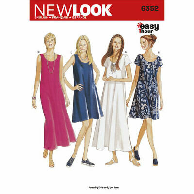 New Look Sewing Pattern 6352 Misses Size 8-18 Easy Tent Swing Dresses inc Maxi