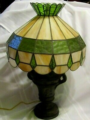 "ANTIQUE VINTAGE SLAG GLASS LAMP SHADE GREEN and CREAM/TAN light 19 1/2"" diameter"