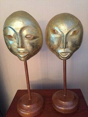 2 wood sculpture faces hand carved with stand Indonesia