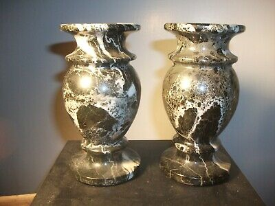 RARE PAIR OF ITALIAN, GRAND TOUR, HEAVY, ANTIQUE, DARK MARBLE, URN VASES, c.1880