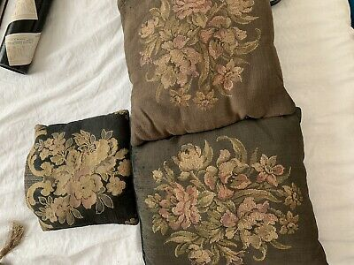 Victorian Antique Floral Tapestry & Velvet Pillows