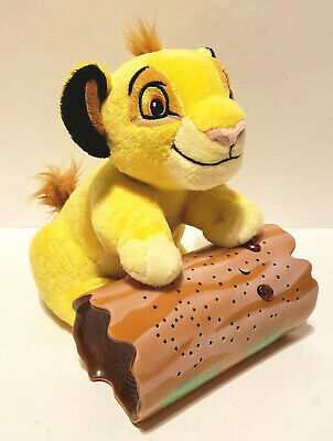 "Disney Baby Simba On Log Night Light 9"" Stars Moon 2 Color Wall Projector Plush"