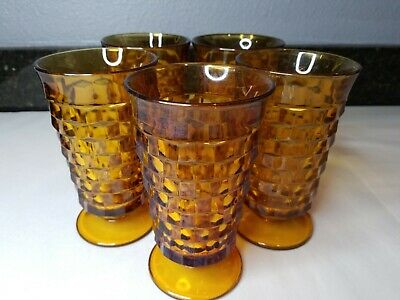 "Set 5 Vintage Indiana Glass Tumblers Amber Whitehall Colony 14oz- 6"" Mid Century"