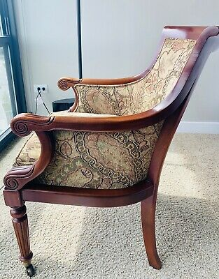 Hickory Chair Company Antique Mahogany Upholstered Armchair