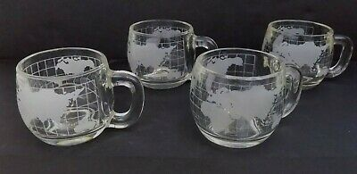 4 ~ Vintage Nestle Etched/Frosted Glass Coffee Mugs/Cups World/Globe Map Design