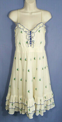 1df2ae841b59 Floreat Anthropologie Size 12 Sun Dress Strap Floral Embroidered Ruffle  Tiered