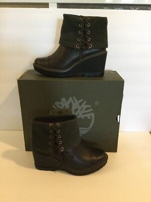 TIMBERLAND KELLIS MID Fold Down Olive Wedge Boot Size 9 Womens New