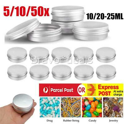 10 Aluminium Cosmetic Empty Pot Lip Balm Jar Tin Container Silver Box Containers