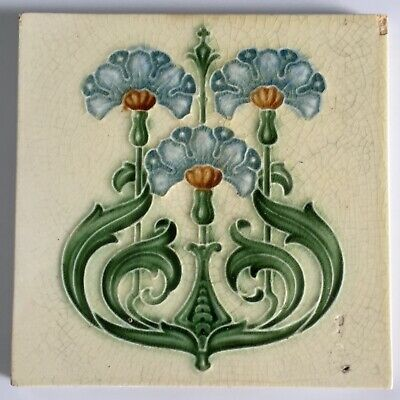 Antique Tile Art Nouveau Embossed Flower  6 inch Design by Boote c.1906