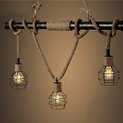 Antique Rustic Bronze Hemp Rope Chandelier Ceiling Lamp Cage Bar Cafe Fixture