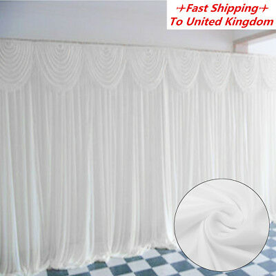 3M X 3M White Stage Wedding Party Backdrop Photography Background Curtain