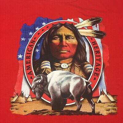 Native American XL Red T-shirt Indigenous Tribe Indian Heritage America Ox Bull