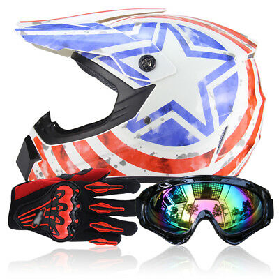 DOT Motocross Off-road ATV Dirt Bike Protector Helmet w/ Goggles+Gloves S-XL SFW