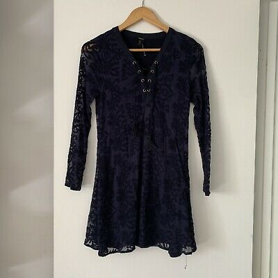 Forever 21 Dress Navy Lace Up Front Embroidered Long Sleeve