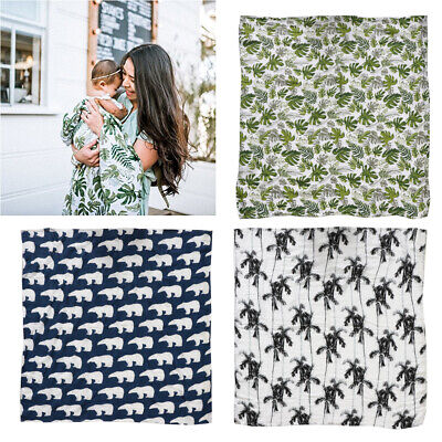 Green Leaf  Newborn Muslin Cotton Baby Blanket Swaddling Bedding Wrap Bath Towel