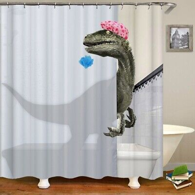 Funny Dinosaur Shower Curtain Waterproof Polyester Bathroom Decor with 12 Hooks