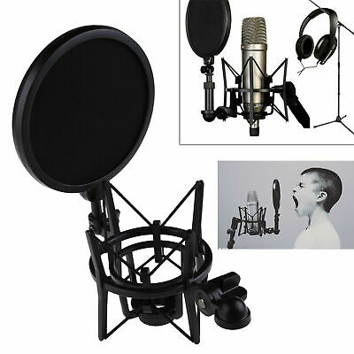 Professional Microphone Stand Holder with Shield Filter Screen Shock Mount New