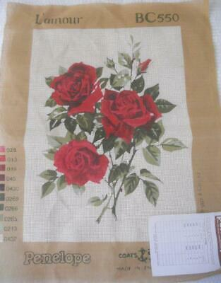 Vintage Penelope Printed Tapestry Canvas Red Roses Design Area 33 X 45 Cm