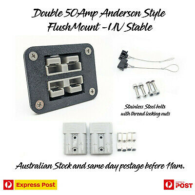 Dual 50Amp Mounting Mount Bracket Anderson Cover + Dust Cover + 2 SB50 plugs