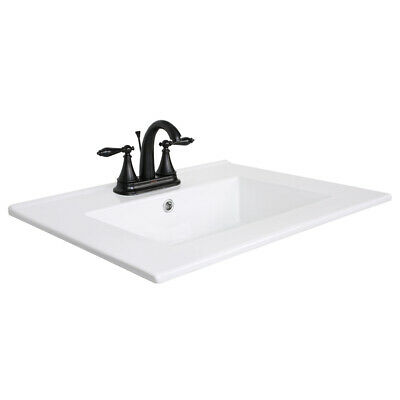 "24"" Drop in Rectangle Bathroom White Ceramic Sink W/ORB Faucet 3 Hole Drain Set"