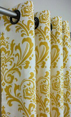 1 Pair of Designer Cotton Damask Custom Drapes with Grommets 50W x Selected Leng