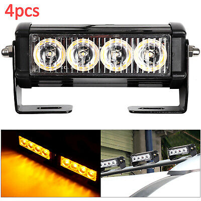 4PCS 4LED Car Truck Recovery Strobe Flashing Emergency Grille Bar Light