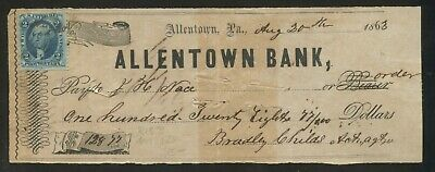 1863 Allentown Pennsylvania Bank Cuadros Featuring Sello #R13b Era Guerra Civil