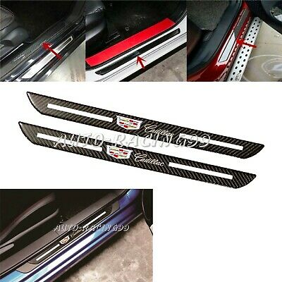 2Pcs Cadillac Carbon Fiber Car Door Welcome Plate Sill Scuff Cover Decal Sticker