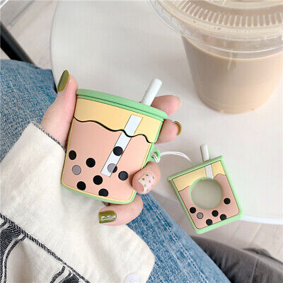 For Apple Airpods Milk Tea Silicone Earphone Charging Case Protective Cover Ring