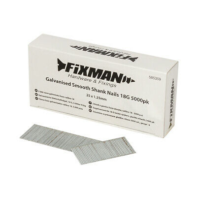 Fixman Galvanised Smooth Shank Nails 18G 5000pk 25 x 1.25mm | 585359
