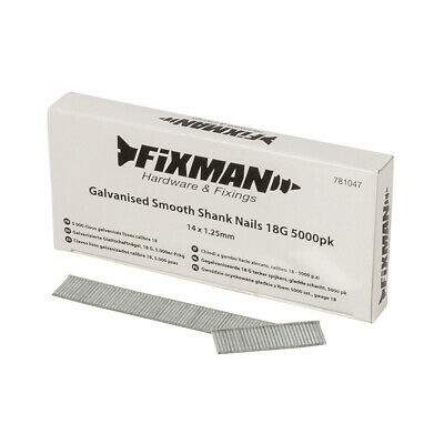 Fixman Galvanised Smooth Shank Nails 18G 5000pk 14 x 1.25mm | 781047
