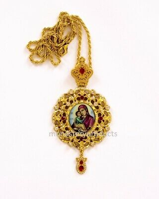 "6.7"" Greek Orthodox Episcopal Bishop Panagia Pectoral Enkolpion Pendant"