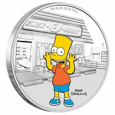 2019 Tuvalu $1 The Simpsons Bart 1oz Silver Proof Coloured Coin