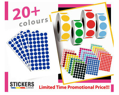 8mm - 50mm Dot Circular Coloured Dot paper Labels Dot Stickers Adhesive