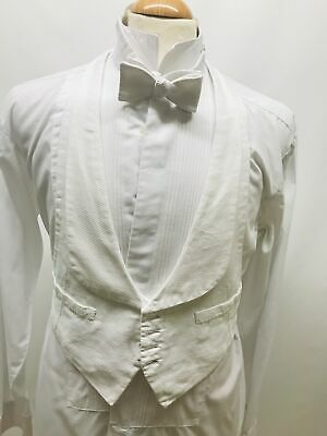 Vintage White Marcella Four Button Single Breasted White Tie Backless Waistcoat