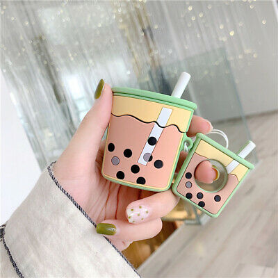 Cute Milk Tea Silicone Earphone Case Protective Cover Skin For A pple Airpods