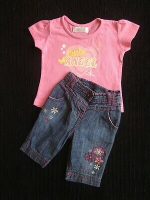 Baby clothes GIRL 0-3m outfit summer denim-look cotton trousers, SS t-shirt pink