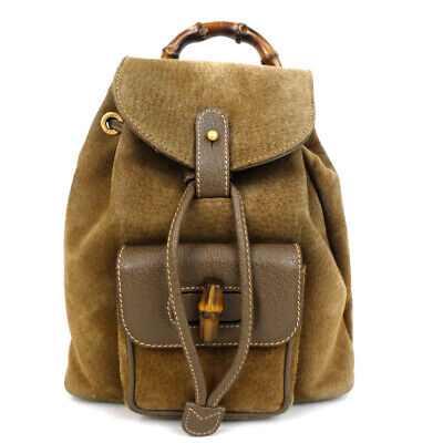 4a81c027d16314 Authentic GUCCI 003・2058・0030 Bamboo Backpack · Daypack suede/leather.