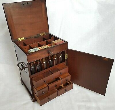 Antique Mahogany Medicine Chest Apothecary Box Lock & Key Scales Weights