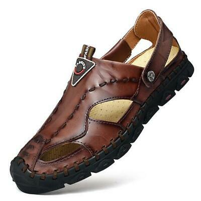 Mens Genuine Leather Closed Toe Sandals Casual Sandal Outdoor Summer Beach Shoes