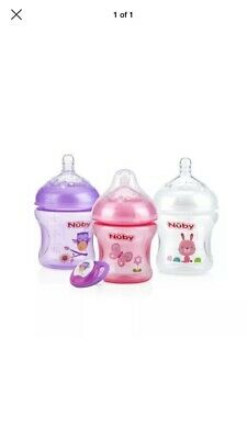 Nuby Natural Touch Baby Bottles with Dummy Soother, 9oz, 3ct