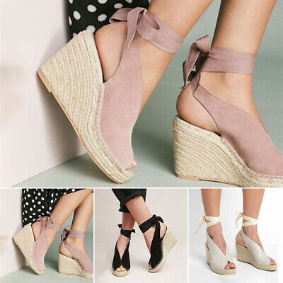6558f80f47eaf DELICIOUS WOMEN'S PEEP Toe Ankle Strap Espadrilles Wedge - $31.99 ...
