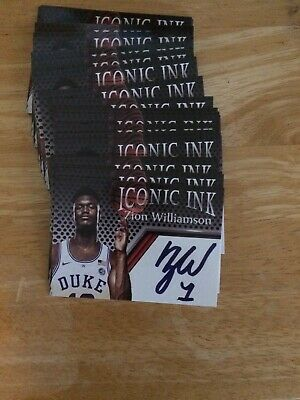 lot of {50} 2018 ZION WILLIAMSON Iconic Ink facsimile Rookie Card RC Duke ACEO