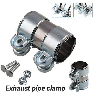 """UK 2.5"""" 65mm Clamp-On Exhaust Stainless Pipe Connector Sleeve Joiner Clamps Kit"""