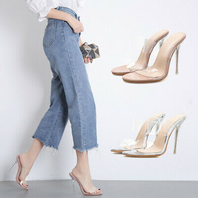 Women Ladies Comfy Open Toe Stiletto Mules Perspex High Heel Slip On Shoes Party