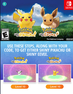 Event Code Target Shiny Pikachu OR Shiny Eevee - Pokemon Let's Go